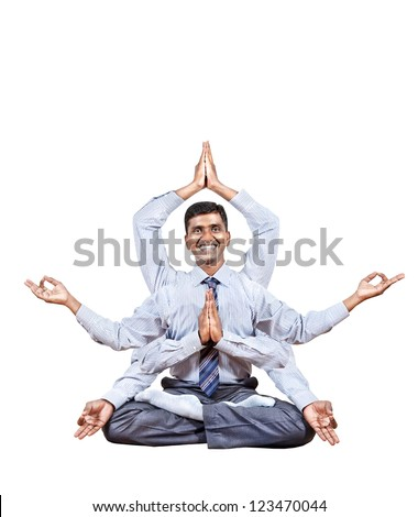 Indian businessman with many hands in lotus pose with big smile isolated on white background. Free space for your text - stock photo
