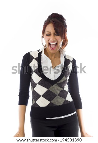 Indian businesswoman screaming in excitement - stock photo