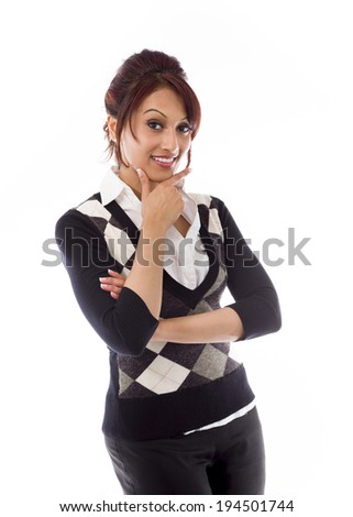Indian businesswoman showing smiley face - stock photo
