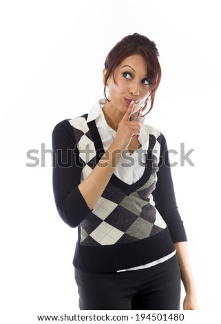 Indian businesswoman with finger on lips - stock photo
