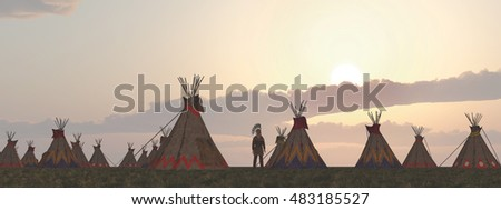 Indian camp at dusk Computer generated 3D illustration