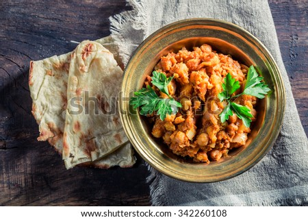 Indian Channa Masala with chickpeas - stock photo