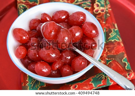 Indian cherry / Carunda / Karonda fruit Herb Tropical Fruits Southeast Asia . Karanda/ Caranda fruit/ crane berry. condiment in Indian pickles, spices, ingredient in jelly, jam, sugar syrup, chutney - stock photo