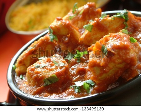 indian chicken bhuna meal - stock photo