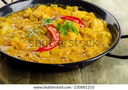Indian Chicken curry in a  bowl. Selective focus - stock photo