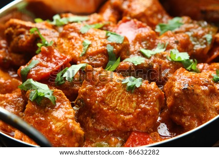 Indian chicken jalfrezi curry. - stock photo