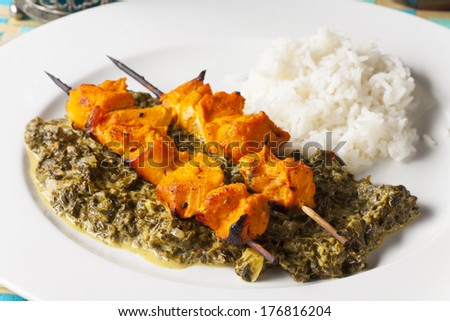 indian chicken meat skewers  - stock photo