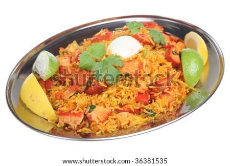 Indian chicken tikka biriani with hard-boiled egg - stock photo
