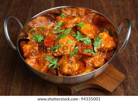 Indian chicken tikka jalfrezi curry - stock photo