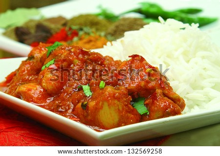 indian chicken vegetable curry with rice - stock photo