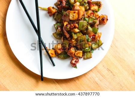 Indian / Chinese Paneer Dish - stock photo
