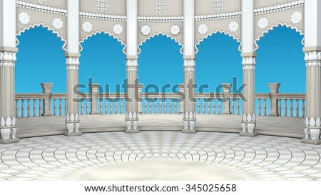 Indian Classic Columns Interior. 3d rendering - stock photo