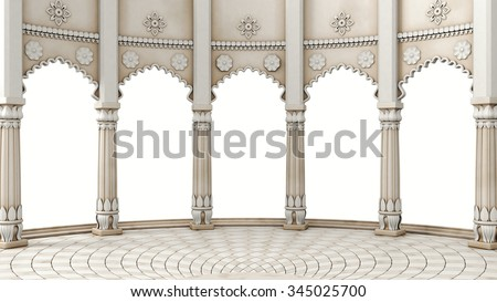 Indian Classic Columns Interior. 3d rendering
