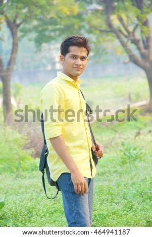 indian collage student with bag