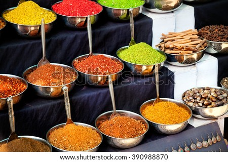 Indian colored spices at market in Goa, India - stock photo