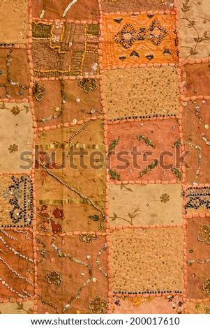 Indian colorful patchwork carpet in Rajasthan , Asia - stock photo