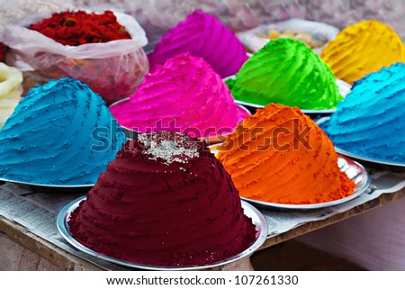 Indian colorful powder, market, India - stock photo
