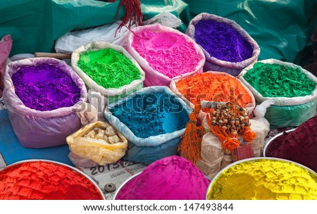 Indian colorful powders for Holi celebration in India - stock photo