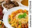 Indian cuisine biryani rice and curry. - stock photo