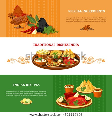 Indian Cuisine 3 Flat Banners Set Stock Vector 409003351 ...