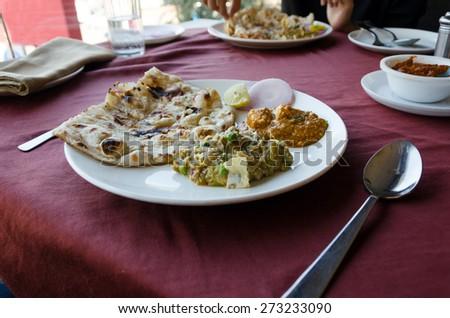 Indian cuisine in indian restaurant - stock photo
