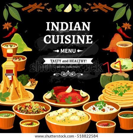 Indian cuisine restaurant menu black board stock vector for Restaurant cuisine