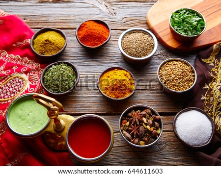 Indian cuisine spices mix as coriander curry  cardamom cumin