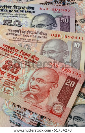 Indian currency banknotes - stock photo