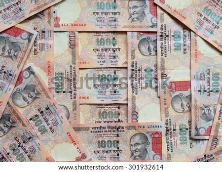 Indian currency or money 1000 Rupee notes, whole background - stock photo