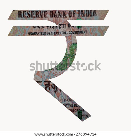 Indian Currency Rupee Symbol with 1000 Indian Rupee currency note with in the symbol - stock photo