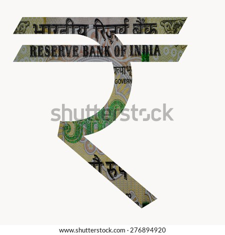 Indian Currency Rupee Symbol with 500 Indian Rupee currency note with in the symbol - stock photo