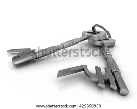 Indian currency sign key. High quality sharp 3d rendering - stock photo