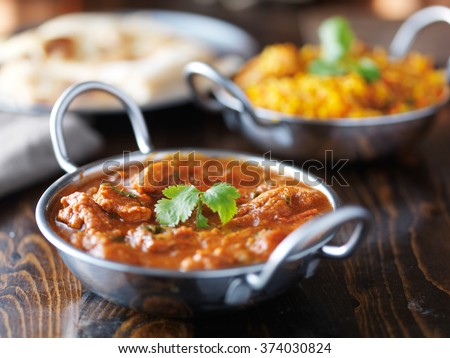 indian curry and Biryani in balti dishes - stock photo