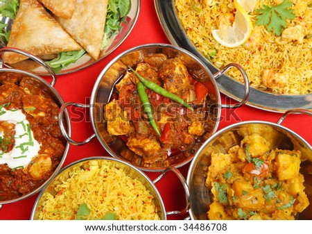 Indian curry banquet meal - stock photo