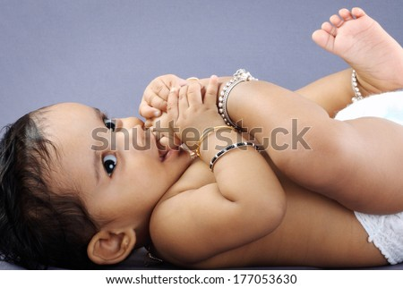 Indian Cute baby - stock photo