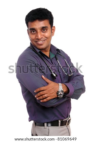 Indian doctor isolated on white background - stock photo
