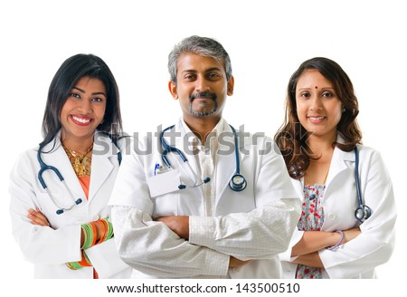 Indian doctors. Group of Indian medical doctors, male and female standing isolated on white background.