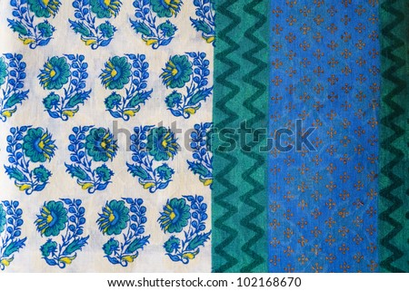 Indian, fabric, block, printed, printing, textile, traditional, handmade, dye, natural, floral, design, patternblue, white, yellow, India, craft - stock photo