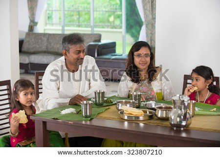 indian family having a meal