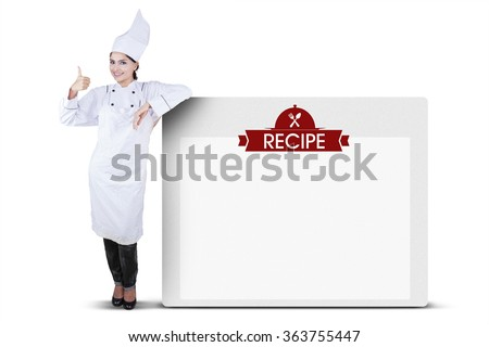 Indian female chef showing recipe board for advertising, isolated on white background
