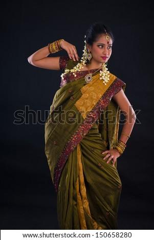 indian female dancer during diwali festival of lights - stock photo
