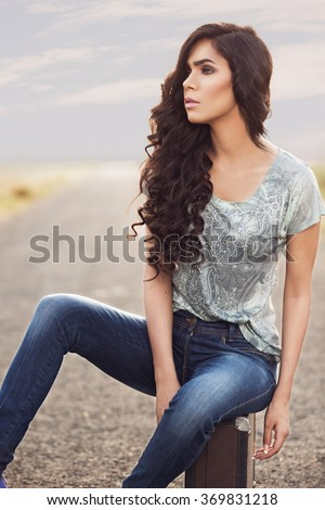 Indian female fashion model posing for a photoshoot