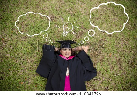 indian female graduate with laying and thinking about future prospects