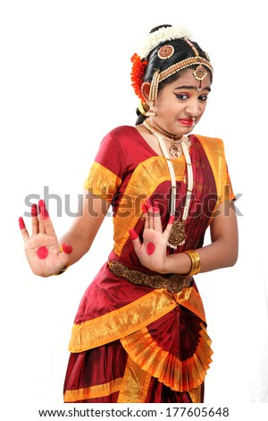 Indian female performing Bharathanatyam  doing the action of disgust or bhibhatsya - stock photo