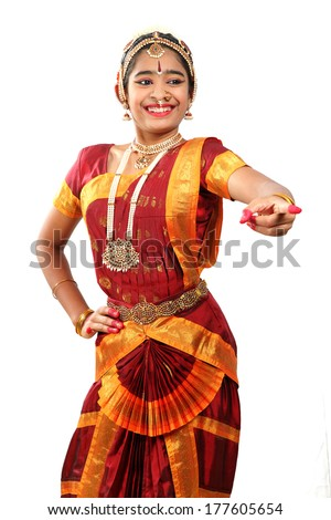 Indian female performing Bharathanatyam  doing the action of laughter or mirth or hasya - stock photo