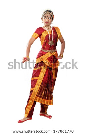 Indian female performing Bharathanatyam doing the action of  veera or valour - stock photo