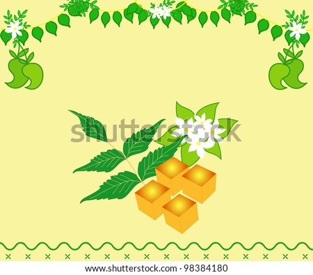 Indian festival Yugadi design with fresh leaves and mangoes - stock photo