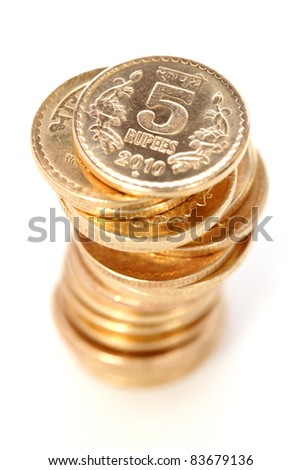 Indian Five rupees coin tower on white. - stock photo