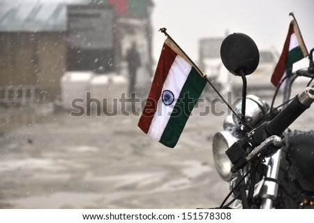 Indian flag on a motorcycle - stock photo