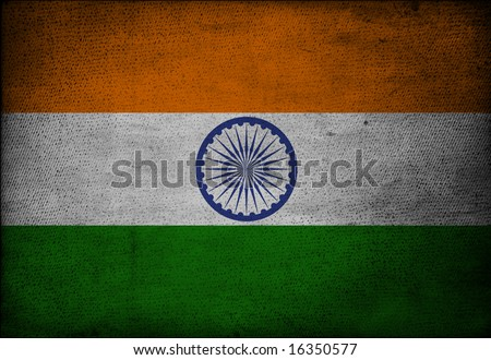 Indian flag on vintage paper - stock photo
